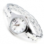 2015 известная марка Смотреть Кимио Женщины белые керамические группа дамы аналоговый кварцевые часы стразы кристалл час часы montre femme