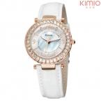 Kimio люксовый бренд часы женщин кожаный ремень горный хрусталь кристалл женские кварцевые - часы montre роковой аналоговый дисплей женская часы