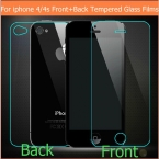 1pair(front back) Ultra-thin Anti Shatter tempered glass Films For iPhone 4 4S Explosion-Proof Screen Protector   retail package