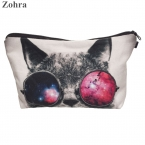 Zohra солнцезащитные очки cat 3D печать несессер женщины косметички neceser путешествия кошелек организатор maleta де maquiagem макияж мешок