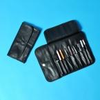 Роскошные косметички для женщин из мягкой кожи профессиональный макияж чехол косметолог кисти косметичка черный составляют инструмент