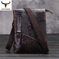 [ Cowather ]  мужчины крокодил картина сумки корова натуральной кожи аллигатора мастерство бесплатная доставка