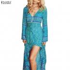Zanzea  мода сексуальные женщины летний сарафан отпечатано V шеи длиной макси ну вечеринку платья сторона сплит пляж платье свободного покроя Vestidos