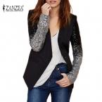 Пальто женщин  мода формальные пиджаки костюм Zanzea весной длинным рукавом лацкане градиент мычка черный шику блестками дамы одеть