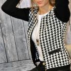 Новый осень  европейский мода плед печать кожа лоскутное куртка женщины о с длинным рукавом подходящую пальто верхняя одежда Большой размер