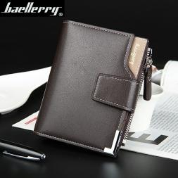 Горячая распродажа качество мягкой кожи мужчины кошельки вертикальный бизнес отдых 3 складки засов держатель молнии кредитные карты бумажник бесплатная доставка
