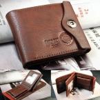 Двойной кошелек мужской из натуральной кожи, коричневый держатель ID карт, тонкий кошелек