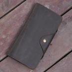 Бесплатная доставка винтажный стиль мужская двойные мягкий футляр из натуральной кожи длинные бумажник держателя карты кошелек ID владелец кредитной карты, 001