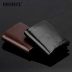 Мужской кошелек из натуральной кожи, черный, на застежке, мужской кошелек с отделением для монет на молнии, портфолио, мужские короткие вертикальные кошельки с отделением для хранения карт