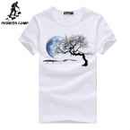 PioneerCamp  new  t shirt men print pattern/Adolescent's personality o-neck cotton/bottoming fitness casual men