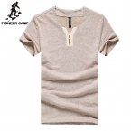 Pioneer Camp   men t shirt environmental cotton hemp casual slim solid t shirts  younger thin and short sleeve