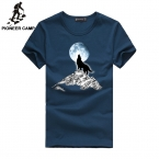 Pioneer Camp  Fashion print wolf pattern casual t-shirt white/black young fashion funny t shirts cotton men clothing