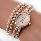 77 Мода Нового Прибытия Моды Случайные Роскоши Стали Жемчужный Браслет Наручные Часы Женщины Дамы Случайный Montre Часы XR1304