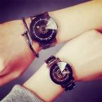 Женщины Мужчины Смотреть  Новая Мода Полный Нержавеющей Стали Кварцевые Часы Дамы Платье Наручные Часы Relogio женщина для Часы