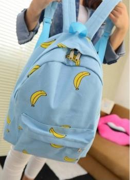 Милые Девушки Банан Шаблон Печати Женщин Рюкзаки Путешествия Открытый Практичное Школьные Сумки Уникальные Моды Холст Рюкзак