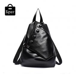 Высокое качество кожа женщины рюкзак мода кнопки рюкзаки для девочек-подростков черный свободного покроя путешествия мешок школы