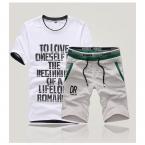 Плюс размер мужчины с коротким рукавом хлопка футболки короткий набор мужская повседневная О-Образным Вырезом письмо дизайн футболки, мода хлопок топы, DJ1143