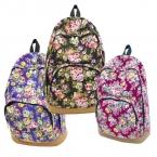Старинные ретро роуз цветочные печать рюкзак женская холст путешествия рюкзак для девочек-подростков рюкзак