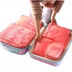 6 шт./компл. мода двойная молния водонепроницаемый полиэстер мужчины и женщины багаж дорожные сумки упаковка кубики
