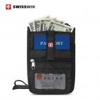 Swisswin владельца паспорта для мужчин и женщин карты с шеи ремень черный обложка для паспорта