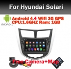 Android 4.4 4 dvd-gps на hyundai Solaris Verna акцент с wi-fi 3 г Bluetooth GPS радио RDS USB IPOD рулевое управление