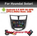Android 4.4 4 dvd-gps на hyundai Solaris Verna акцент с wi-fi 3 г Bluetooth GPS радио RDS USB IPOD рулевое управление