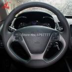 Черный Кожаный Ручной работы Крышка Рулевого Колеса Автомобиля для Kia K3  Kia K2  Kia cee'd   Kia Ceed Cerato -