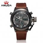 AMUDA Марка Dive LED Часы Мужчины Спорт Военные Часы Натуральная Кожа Кварцевые Часы Мужские Наручные Часы Relogio мужской