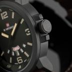 Бренд Моды для Мужчин Спортивные Часы мужские Кварцевые Час Дата Часы Мужчины Кожаный Ремешок Армия Армия Водонепроницаемые Наручные часы