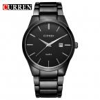Curren кварц Тегов Черный полный стали Мода Повседневная часы Мужчины Бизнес Мужчины Relojes hombre Простой Наручные Часы подарок