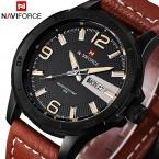 Кожа Военные Часы Мужчины Luxury Brand Кварцевые Часы Спортивные Часы NAVIFORCE Men Наручные Часы Relogio Masculino quartz-watch часы женские часы мужские часы женские наручные Часы женщины часы мужские наручные