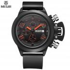 Megir черный мужские часы классическое искусство резные конструкции корабля точность время хронограф мужчины спортивные часы Relogios