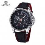 MEGIR Известный Бренд Кварцевые Мужские Часы Лучший Бренд Класса Люкс Кварцевые часы Часы Кожаный Ремешок Мужчины Наручные Часы Relogio Masculino Reloj