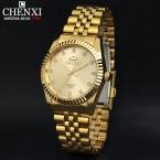 Золотой новый часы золотые мода мужчины часы полный золота нержавеющей стали кварцевые часы наручные часы оптовая продажа CHENXI золотые часы мужчины