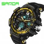 новый бренд санда мода часы Men г стиль водонепроницаемый спорт военно часы шок роскошные кварцевый электронные часы