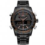 Мужские часы NAVIFORCE календарная 9024 люксовый бренд полный стали кварцевые часы цифровой из светодиодов часы военный спортивные часы relogio masculino