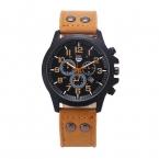 Бизнес Кварцевые часы Мужчины спорт Военная Часы Мужчины Кориум Кожаный Ремешок армия наручные часы часы часы с Полным Календарем