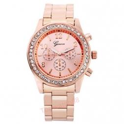 мода часы женева мужской кварцевые часы женщин аналоговые наручные часы шику хрустальные часы из нержавеющей стали Relogio Reloj