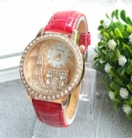 Бренд Gogoey женщины горный хрусталь часы класса люкс кристалл эйфелевой башни часы женщины дамы мода платье кварцевые наручные часы