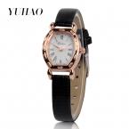 Новые прибытия кварц женщин кожаный ремешок часы, Платье женщины часы горный хрусталь женские часы