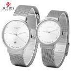Мода юлий JA - 426 пара ультратонкий сетка из нержавеющей стали браслет кварцевые мужские наручные часы relogio feminino женщины часы