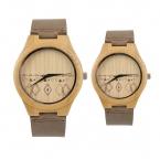 Любители старинные деревянные браслет треугольник узоры набрать наручные часы браун кварцевые мужчины женщины пару часов простой элегантный стиль