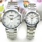 Ни капли бренд элегантный горный хрусталь набор пару часов женщины свободного покроя мужской кварцевый бизнес часы платье водонепроницаемый нержавеющей стали часы