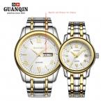 Бренд GUNQIN 2 шт./компл. любители Пару Часов мужские часы женщины Кварцевые часы Календарь неделя классический стальной ленты водонепроницаемый GL-01