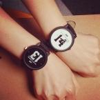 Feitong  Любителей Пара Часы Женщины Мужчины PU Кожаный Ремешок отпечатано 13 14 Кварцевые Наручные Часы montre femme reloj hombre часы