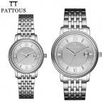 Pattous бренды любовник часы точная дата нержавеющей стали дисплей водонепроницаемый пара наручные часы для женщин людей