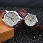 доказательство Воды Натуральная кожа группа, серебрение чехол, авто дата функция, Gerryda моды любовник пару кварцевые часы