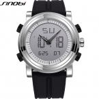 Sinobi спортивные часы мужские силиконовый ремешок цифровой многофункциональный кварц - часы работает двойной человек наручные часы водонепроницаемый часы наручные мужские цифровые часы мужчин часы мужские наручные