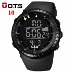 ОТС Цифровые Часы мужчины спорт 50 М Профессиональный Водонепроницаемый Кварцевые большой циферблат часов военная Световой наручные часы  мода