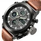 Лучший бренд класса люкс мужчин цифровой из светодиодов кварц открытый спортивные часы военные Relogio Masculino часы с кожаным ремешком